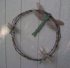 Metal Dragonfly Barbwire Wreath Metal Garden by northwindmetalart, $42.00