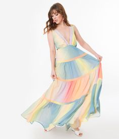 Plus Size Pastel Ombre Rainbow Tiered Maxi Dress – Unique Vintage Dressy Dresses, Unique Dresses, Dress Outfits, Fashion Outfits, Lace Dresses, Fasion, Dress Plus Size, Plus Size Maxi Dresses, Club Dresses