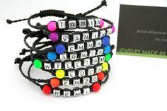 Neon Friendship Bracelet with Firstname - Bracelet prénom personnalisable perle acrylique FLUO couleur au choix - Shamballa