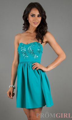 Strapless Short Teal Prom Dress, Short Sequin Dress- PromGirl $99