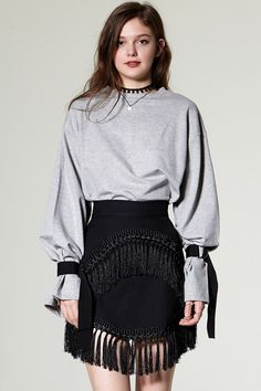 Zeo Ring Belt Cuff Sweatshirt Discover the latest fashion trends online at storets.com