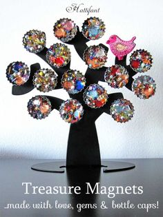 Hattifant Recycle Craft Treasure Magnets with gems and bottle caps Fun Crafts For Teens, Craft Projects For Kids, Diy For Kids, Craft Ideas, Adult Crafts, Quick And Easy Crafts, Easy Arts And Crafts, Diy Bottle Cap Crafts, Recycled Bottles