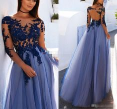 A-Line Bateau Long Sleeves Open Back Dark Blue Prom Dress with Appliques - - Prom DressesLong,Prom Dresses Dresses,Elegant Dresses Source by Long Sleeve Evening Dresses, Prom Dresses Long With Sleeves, Formal Evening Dresses, Sexy Dresses, Long Dresses, Dress Long, Summer Dresses, Evening Gowns On Sale, Backless Dresses