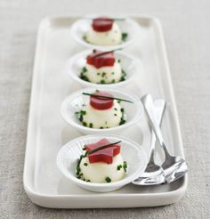 Thanksgiving Amuse-Bouche: Savory Goat Cheese Panna Cotta with Canned Cranberry Jelly Cut-Outs