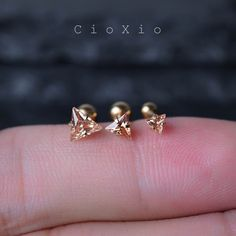 cartilage earring tragus earring 16g cartilage piercing tragus piercing triple helix earring forward helix conch earring triangle gold by CioXio on Etsy https://www.etsy.com/listing/248440219/cartilage-earring-tragus-earring-16g