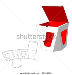 Box with windows Die Cut Template. Packing box For Food, Gift Or Other Products…