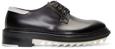 Lanvin: Black & White Leather Derbys | SSENSE