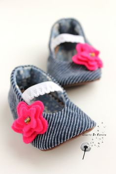 Blue Corduroy Fabric Baby Girl Booties/Slippers/Shoes - Faux Leather Soles - Size 3 to 6 Months. $18.00, via Etsy.