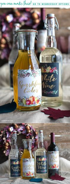 Printable Bottle Labels for Thanksgiving Dinner - Lia Griffith