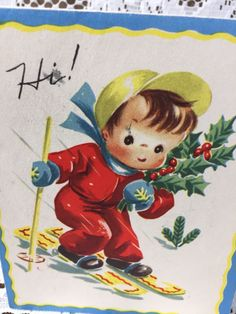 VTG 40s 50s Adorable Boy Skiing Winter Scene Xmas Greeting Card
