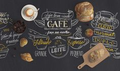 Chalkboard . Calligraphy and illustration project for Casa do Pão de Queijo