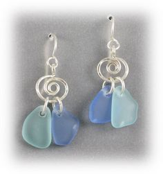 earrings A two pieces drilled beach glass - $34.00
