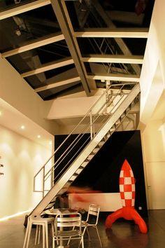 escalier esprit industriel loft gris