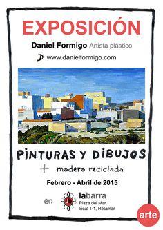 Cartel publicitario para exposición 2015 de Pinturas y dibujos en Concepto labarra de Retamar, Almería.