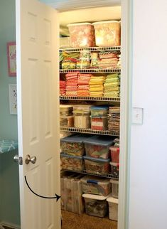 Great tips for storing and organizing all of your quilting projects - from A Bright Corner Sewing Room Storage, Sewing Room Organization, My Sewing Room, Sewing Rooms, Fabric Storage, Craft Storage, Ribbon Storage, Organizing Ideas, Sewing Closet