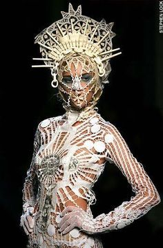 Religion is a delicate subject to use as fashion inspiration and the French designer Jean Paul Gaultier trod a fine line between reverence and blasphemy in his haute couture collection in Paris yesterday. Jean Paul Gaultier, Fashion Design Inspiration, Mode Inspiration, Weird Fashion, Fashion Art, High Fashion, Couture Fashion, Fashion Clothes, Emo Fashion