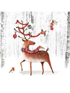 Buy Woodmansterne Reindeer Christmas Card from our Christmas Cards range at John Lewis & Partners. Christmas Gift Bags, Christmas Art, Reindeer Christmas, Christmas Displays, Santa And His Reindeer, Oh Deer, Images, Photoshop, Christmas Cards Illustration