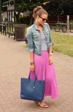 Penny Pincher Fashion - Stripe Tee and Vibrant Skirt