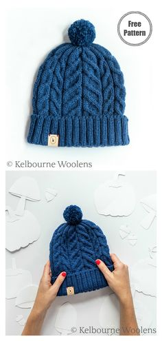 The Modern Cable Panel Hat Free Knitting Pattern creates deceptively easy texture that sometimes even adds warmth to an otherwise plain hat. Free Aran Knitting Patterns, Animal Knitting Patterns, Free Knitting, Vogue Knitting, Baby Knitting, Crochet Patterns, Knitting Hats, Hat Patterns, Loom Knitting