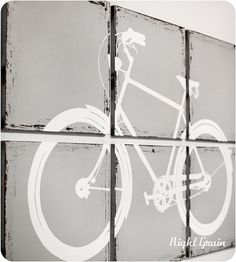 Distressed Retro Bike Painting - Large Wall Art Custom Made Just for You