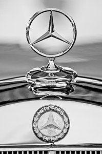 Classic Car Black Photograph Mercedes Benz Hood Ornament 2 By
