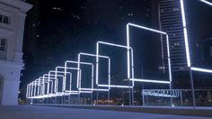 Interactive Light Installation in Singapore Led Light Installation, Street Installation, Interactive Installation, Facade Lighting, Cool Lighting, Lighting Design, Outdoor Lighting, Light Art, Light Bulb