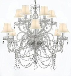 Murano Venetian Style All Crystal Chandelier With White Shades A46 Whiteshades Silver 4 385 6