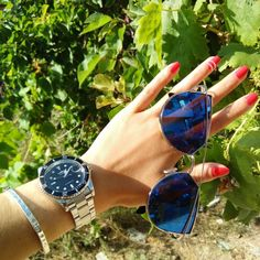 Amazing summer bright orange red nails and details. All you need for summer! #nails #details #summer #sunglasses #rednails #watch #accessories #nature #photo