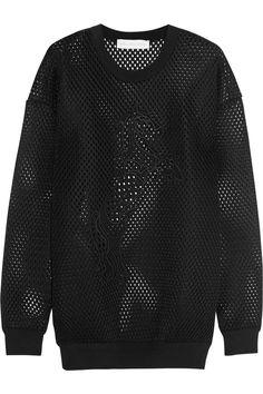 Stella McCartney Unicorn-embroidered mesh sweatshirt NET-A-PORTER.COM