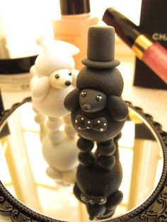 Custom Wedding Cake Topper -Handmade lovely Kiss Poodle. $140.00, via Etsy.