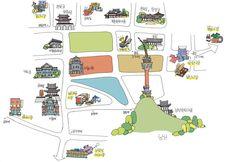 Seoul market map. 서울 전통시장. 그림지도