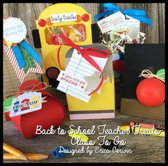 Bac to School Treats Class Planner featuring Stampin' Up Writing Lines and All Boxed Up stamp sets Buckaroo Designs Teacher Treats, Teacher Cards, School Treats, Teacher Christmas Gifts, Teacher Gifts, Teacher Stuff, Class Planner, Back To School Teacher, School Lunch