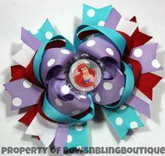 Ariel Hair Bow Purple Hairbow Disney Princess Boutique Hairbows Little Mermaid Bow Funky hair bow Disney mouse bow