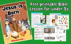 FREE printable Bible lesson for Christmas, Focuses on the trip to Bethlehem and Jesus' birth in a stable. Worksheets, coloring pages, crafts and more. Preschool Bible Lessons, Bible Object Lessons, Bible Lessons For Kids, Christmas Bible, Preschool Christmas, Christmas Crafts, Sunday School Projects, Sunday School Lessons, Free Christmas Printables