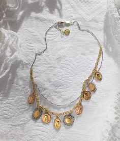 Dolce&Gabbana Jewellery . Medal Pendant Charm Necklace . 2 Round BLACK SAPPHIRES .