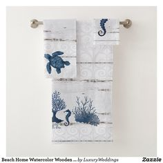Beach Home Watercolor Wooden Seahorse Turtle Coral Bath Towel Set Bath Towel Sets, Bath Towels, Bathroom Sets, Small Bathrooms, Seahorse Decor, Decorative Accessories, Bathroom Accessories, Beach Bath, Decorative Towels