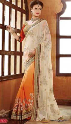 Cream & Oreang Georgette,Silk PartyWear Designer Saree Buy Apparel