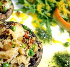 Oppskrift Gratinert Portobello Fylt Sopp Ris Ost Vegansk middag Vegetarmiddag