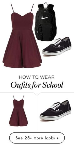 """School"" by emzynight on Polyvore featuring Topshop, NIKE and Vans"