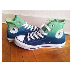 New pair! Emerald green navy blue ombre Converse, dip dye sneakers,... ❤ liked on Polyvore featuring shoes, sneakers, star shoes, ombre sneakers, converse trainers, converse footwear and converse sneakers