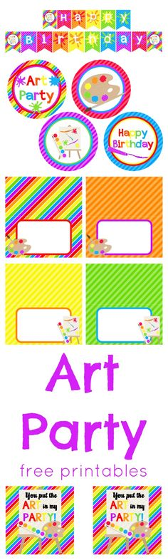 Adorable new Art Party free printables!                                                                                                                                                                                 More