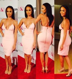 The beautiful Draya Michele hit up the red carpet of the Life & Style Magazine Party sporting a sultry House Of CB $173 Loren Blush Bodycon Dress and $80 Steve Madden Stecy Ankle Strap Sandals: