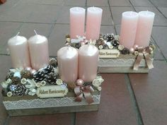 wood scrap pinecones or various potpourri pieces candles, ribbon for the bow n lace around outer center. Rose Gold Christmas Decorations, Christmas Advent Wreath, Christmas Candles, Christmas Centerpieces, Pink Christmas, Xmas Decorations, Winter Christmas, Christmas Holidays, Christmas Crafts