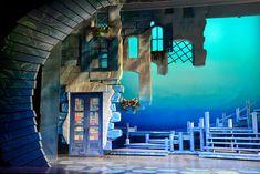 Stage Set Design, Set Design Theatre, Design Set, Mamma Mia, Building Facade, Scenic Design, Stage Lighting, Play Houses, Installation Art