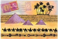 Egypt themed Post Card Mail Art