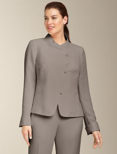 We welcome every plus-size professional woman who wants to build a closet of modern, elegant and well fitting work wear and invite you to visit www.executive-image-consulting.com for more information. Talbots - Fluid Crepe Stand-Collar Jacket | Suits | Woman