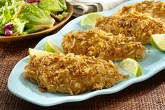 Tortilla Crusted Chicken Breasts http://www.yummly.com/recipe/Tortilla-crusted-chicken-breasts-298675
