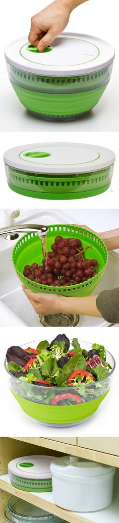 Collapsible salad spinner: packs flat for easy storage, and doubles as a handy colander and salad bowl