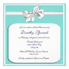 Tiffany Blue Custom Bridal Shower Invites, Square  #bridalshower #tiffanys #tiffanyblue #invites