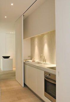 Hidden kitchen for open plan living area & hiding kitchen mess! Hidden Kitchen, Mini Kitchen, New Kitchen, Kitchen Ideas, Kitchen Inspiration, Kitchen Small, Awesome Kitchen, Kitchen Stove, Kitchen Office